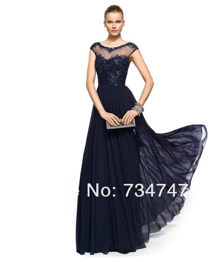 Sheer Top Evening Dress Formal Gown Elegant Cap Sleeves With Lace ...