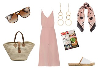 the simply luxurious life blogger dress shoes sunglasses scarf bag jewels basket bag pink dress slide shoes