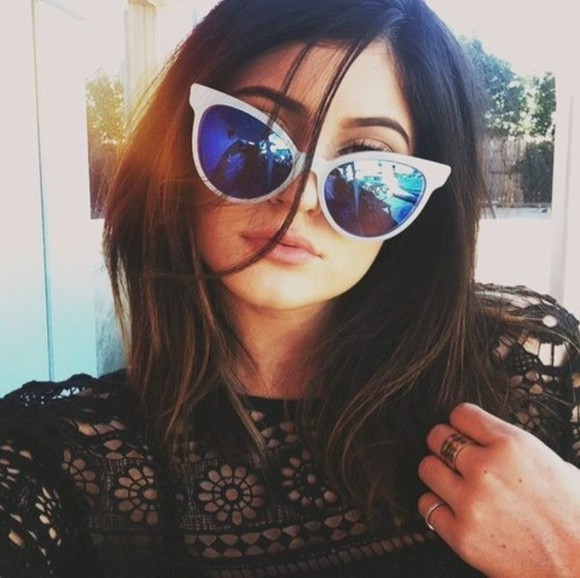 white sunglasses sunglasses kylie jenner