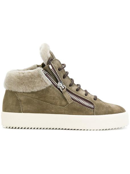 GIUSEPPE ZANOTTI DESIGN fur women sneakers leather suede green shoes