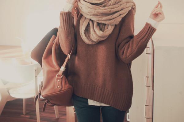 scarf sweater rucksack jeans echarpe