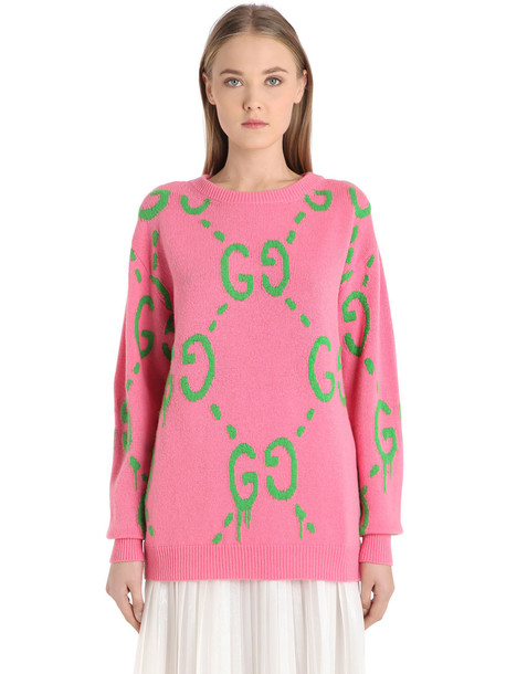 GUCCI Intarsia Gg Logo Wool Sweater in green / pink - Wheretoget