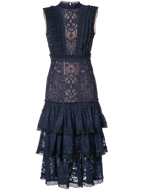 dress ruffle dress ruffle women spandex embellished lace blue