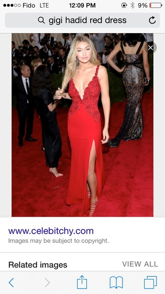 dress gigi hadid red dress red blonde hair