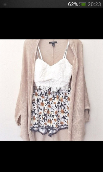 shorts flowered shorts jacket tank top