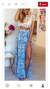 skirt,maxi skirt,tribal pattern,blue,white,blue skirt,double slit skirt