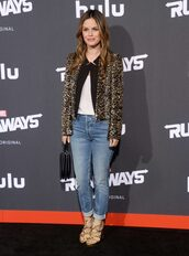 jacket,jeans,rachel bilson,animal print,leopard print,shoes