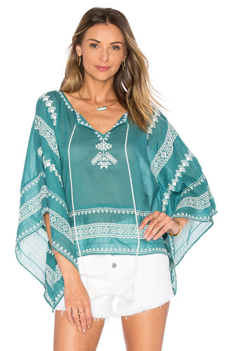 top embroidered teal