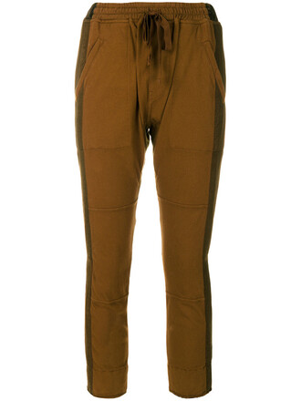 cropped women cotton brown pants