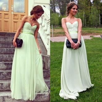 dress prom mint elegant fashion trendy formal strapless vanessawu