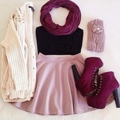 platform lace up boots,knitted cardigan,fall outfits,skater skirt,pink skirt,infinity scarf,burgundy shoes,blouse,black half top,skirt,scarf,dress,cute,cute outfits,style,pink,shoes