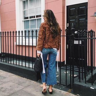 coat brown coat fuzzy coat denim jeans blue jeans bag black bag shoes black shoes tumblr rust kick flare cropped jeans fall outfits fall jacket camel fluffy coat