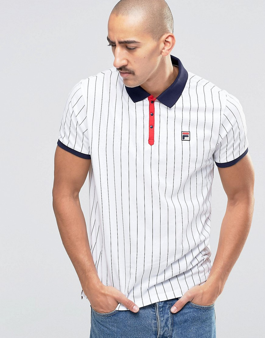 Fila Vintage Striped Polo Shirt at asos.com