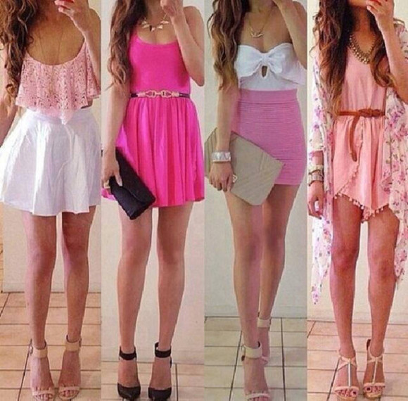 white white top pink dress pink bottom skirt tube top strapless bow bandeau short high waist high rise cute