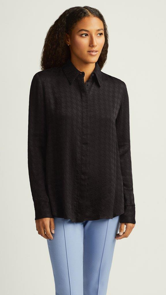 Houndstooth Collared Shirt