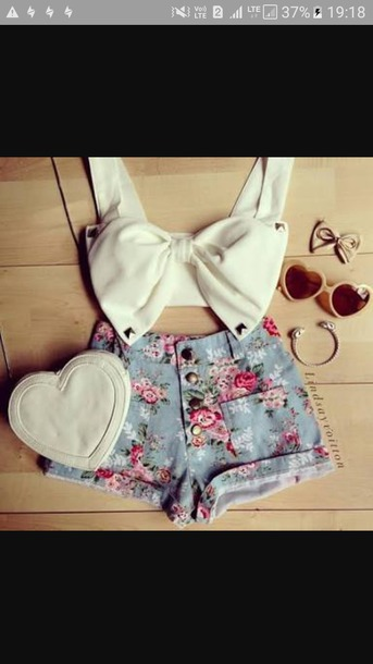 blouse white bow tie crop top