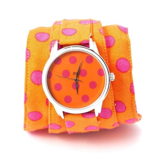 jewels watch watch soft watch cotton strap designer watch orange pink bright watch colourful watch beautiful watch unique watch unusual watch funny watch ziziztime ziz watch polka dots