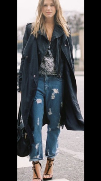coat boyfriend jeans jeans ripped jeans trench coat style strapped wedges heels with straps