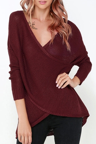 sweater fashion long sleeves burgundy solid color cross long sleeves v-neck sweater knitwear streetwear cool