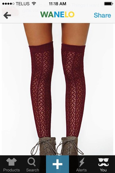 nastygal pants burgundy high knee socks