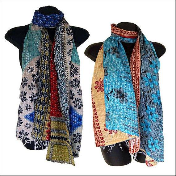 Reversible Kantha Scarf Indian Kantha Shawl Bohemian Kantha Neck Wrap For Women Handmade Kantha Stole Dupatta