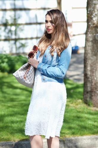 gumboot glam blogger dress jacket bag shoes sunglasses denim jacket louis vuitton bag white dress spring outfits