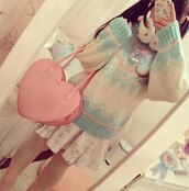 sweater,sweater weather,japanese,japanese sweater,knitted sweater,knitwear,kawaii,kawaii sweater,pastel goth,pastel,pastel color,pastel sweater,candy color,candy sweater,harajuku,japanese fashion,japanese streets,cute sweaters,cute sweater,cute,pullover,Knitted pullover,kawaii pullover,bag,skirt