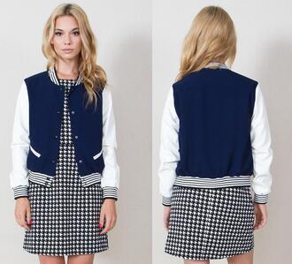 jacket varsity bomber jacket coat navy junior details designer