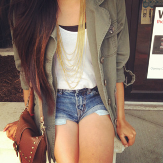 shirt hipster gold necklace bag jacket outfit coat clothes girl's clothes vintage clothes shorts denim shorts gold chains army green jacket ombre hair white tank top brown leather satchel high waisted shorts shoes cardigan green jacket