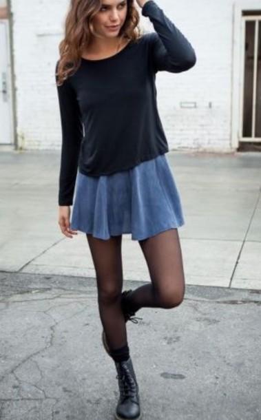 Skirt grunge soft grunge style fall outfits outfit denim skirt denim blue skirt blue ...