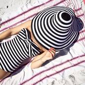 swimwear,stripped hat,hat,summer,fashion,beach,pink,big hat,black and white,bandeau swimsuit,blogger,atlantic pacific,summer accessories,stripes,one piece swimsuit,sun hat