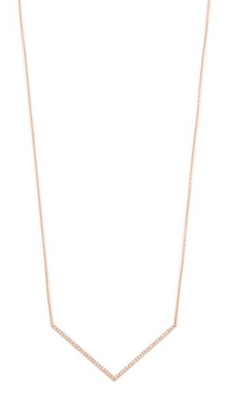 rose gold rose clear necklace gold chevron jewels