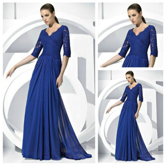 v-neck dress long dress 3/4 sleeve grad dress lace top chiffon bottom half sleeves blue dress
