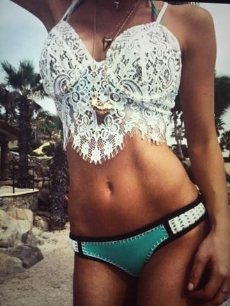 swimwear white white lace teal turquoise white bikini top bikini white lace top black bottom trim lace bikini top