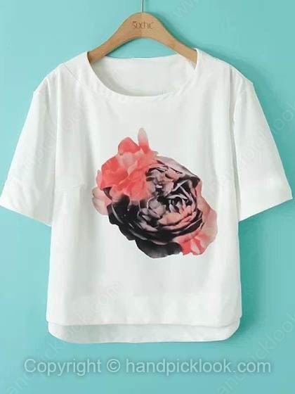 White Round Neck Short Sleeve Floral Print T-Shirt - HandpickLook.com