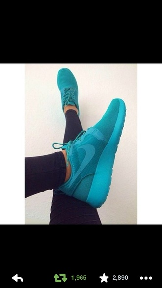 shoes nike roshe run teal nike