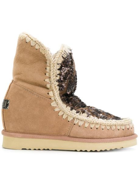 Mou women vinyl winter boots brown shoes