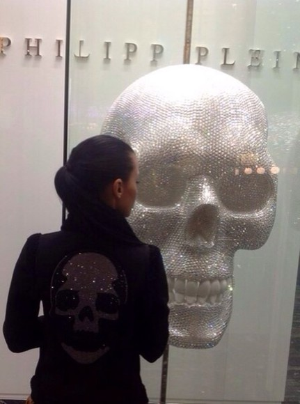 jacket black jacket diamond skull head on the back kk