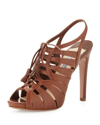 Prada Strappy Leather Tassel Sandal, Brown