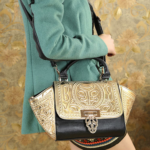 shopbazar shopping mall — [grzxy62000374]Skull Head Metallic Top Handle Tote Shoulder Bag Handbag