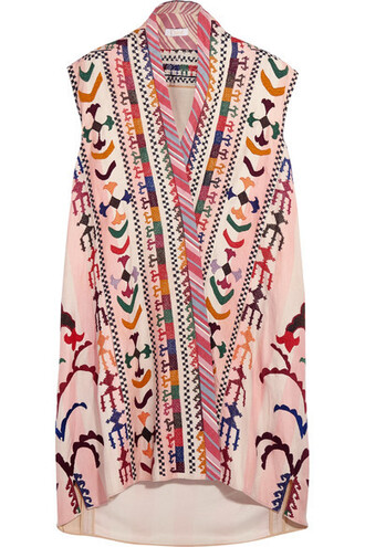 tunic embroidered silk pink top