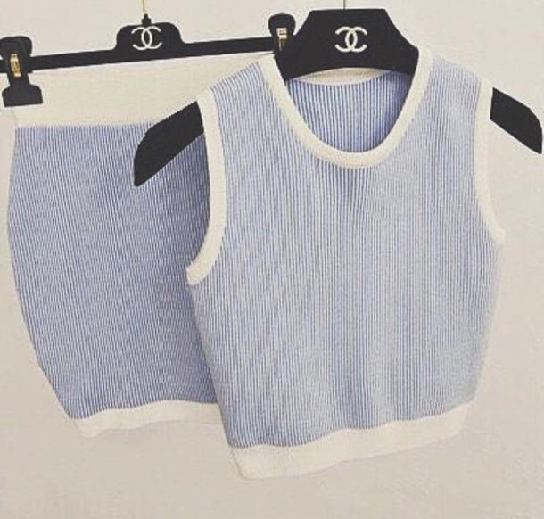 top cropped top cropped tank top cropped sweater shirt two piece dress set blue dress blue top crop tops