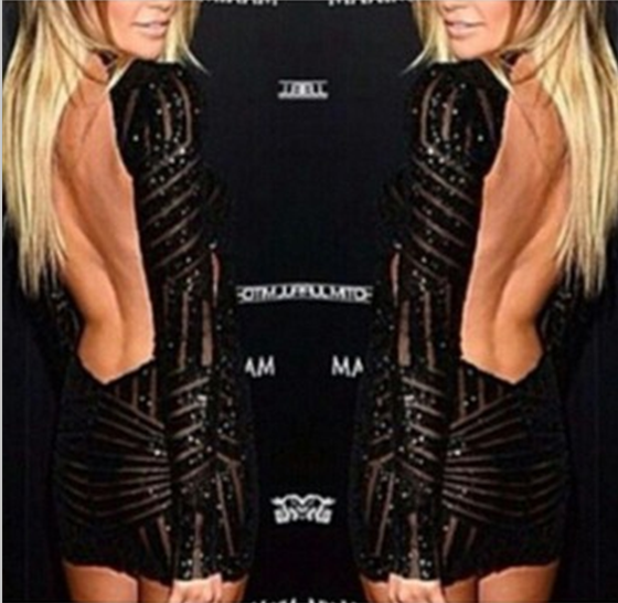Hot cute shining back sexy backless dress