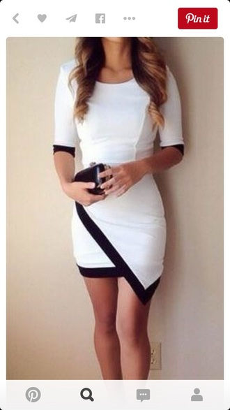 dress bodycon dress tight black dress white dress white black assymetric sexy sexy dress