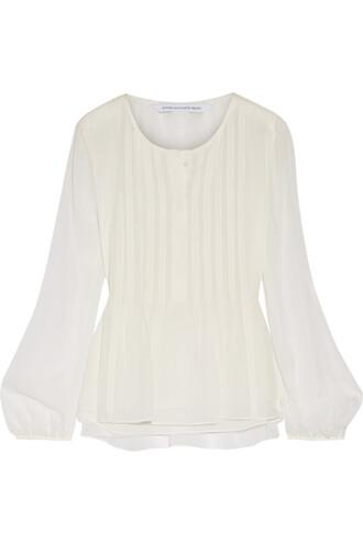 top chiffon silk white