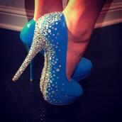 shoes,blue,diamonds,high heels,pumps,blue high heels,sparkle,glitter shoes,light blue,crystal heels,crystal,blue heels,diamond high heels,cute blue high heels,cute high heels