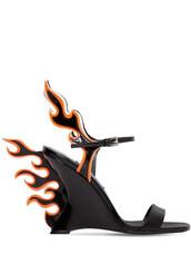 wedges,leather wedges,leather,black,orange,shoes
