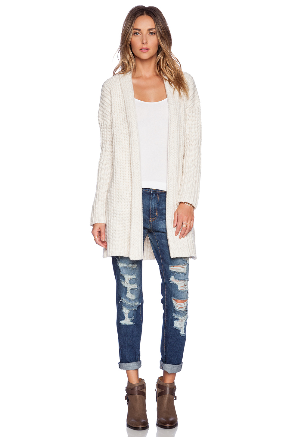 Merritt charles ryder english rib cardigan in ivory from revolveclothing.com