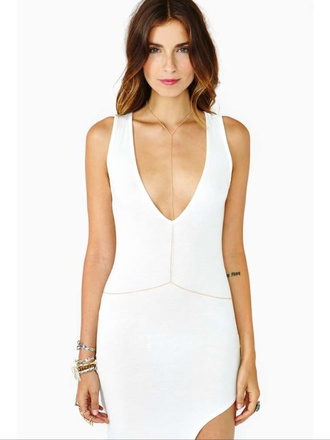 white dress low v neck dress