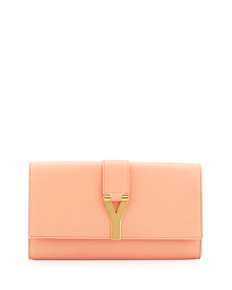 Saint Laurent Y Ligne Clutch Bag, Blush - Neiman Marcus